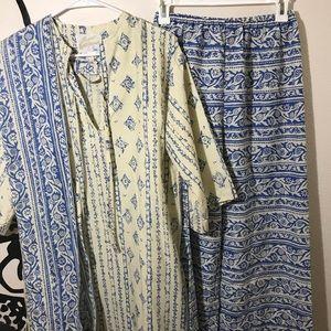 Vintage 1970's Sears Bohemian Batik Style Outfit